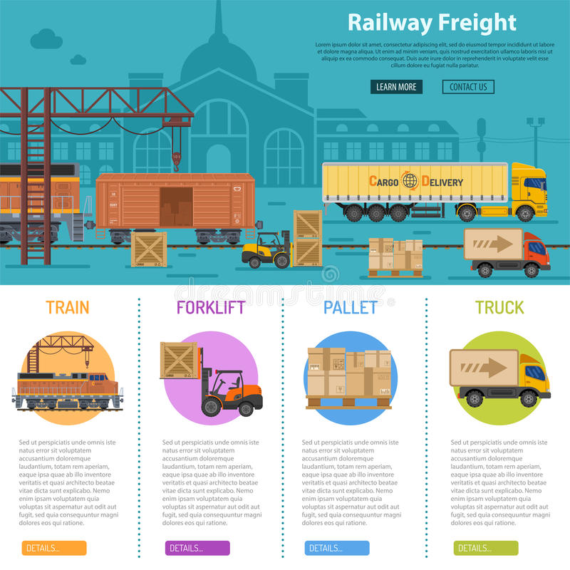 Infographics van de spoorwegvracht stock illustratie