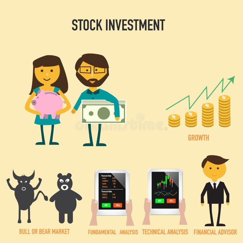 Infographics van de voorraadinvestering met de groei van geld, stier of bea stock illustratie