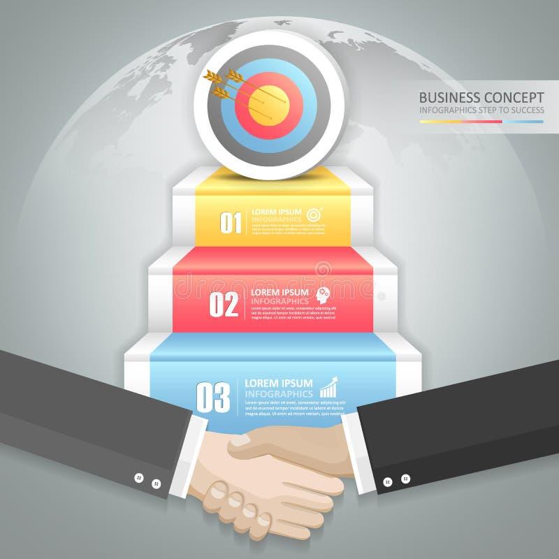 Infographics van het de deuropeningsconcept van de bedrijfsgroepswerktrap stock illustratie