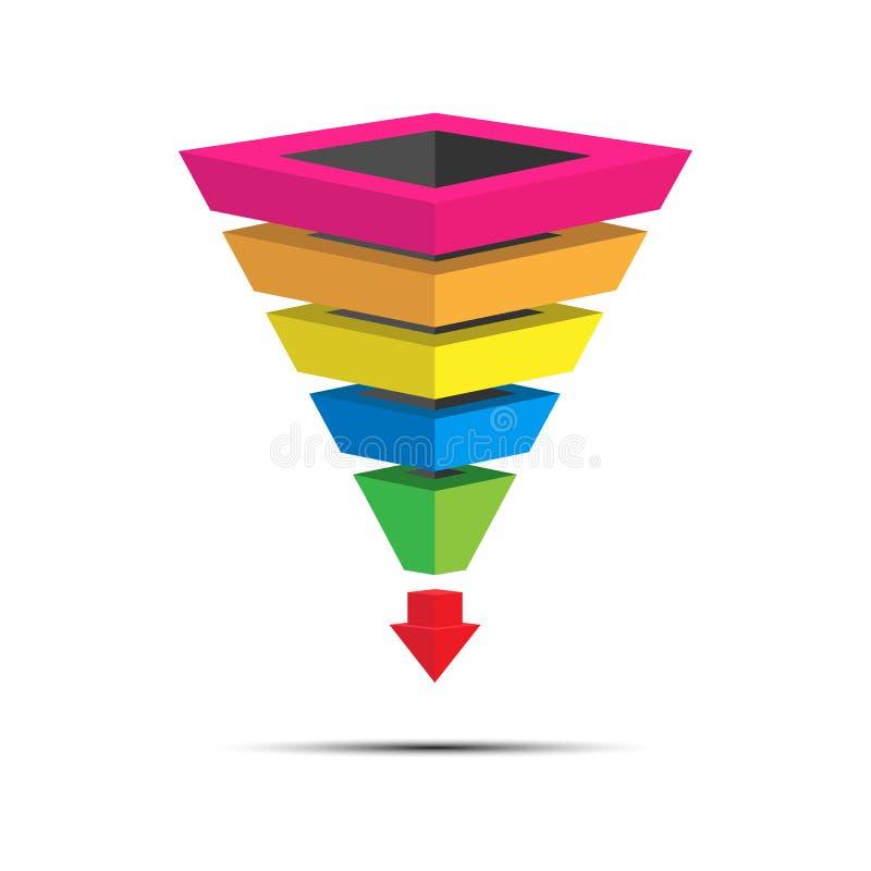 Infographics van loodgeneratie, verkooptrechter voor presentatie van toepassingen en websites, 3D simulatie royalty-vrije illustratie