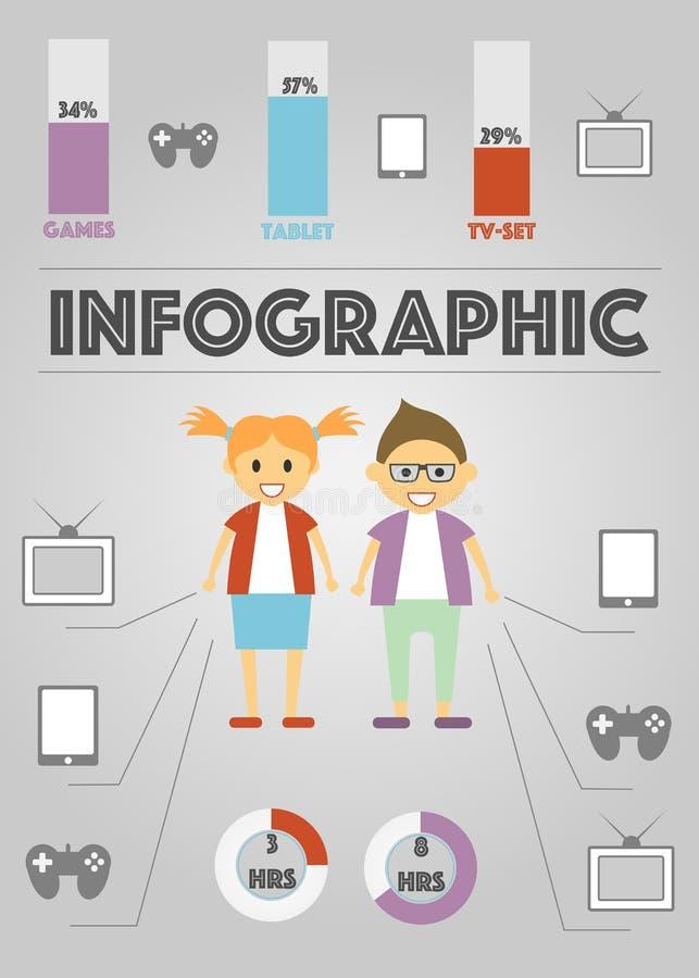 Infographics van verschillende Gadgets op grijs royalty-vrije illustratie