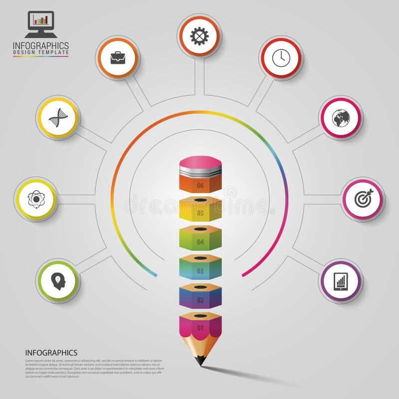 Infographics variopinto della matita Modello di disegno moderno Illustrazione di vettore illustrazione vettoriale