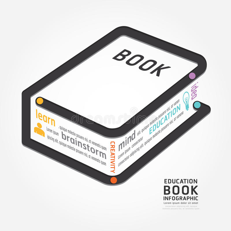 Infographics vector book design diagram line style timeline. Template stock illustration