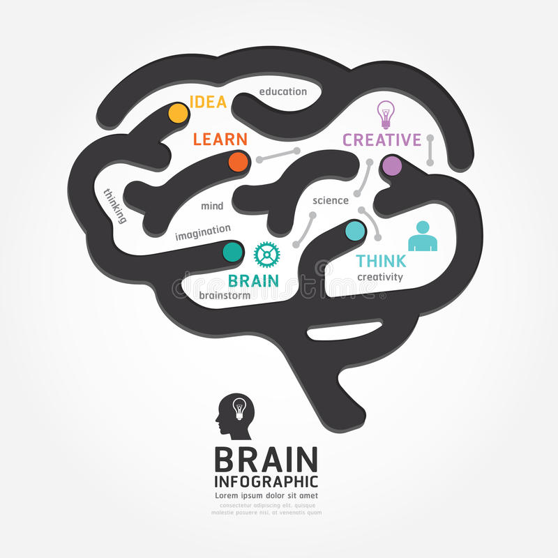Infographics vector brain design diagram line style. Infographics vector brain design diagram line style template royalty free illustration