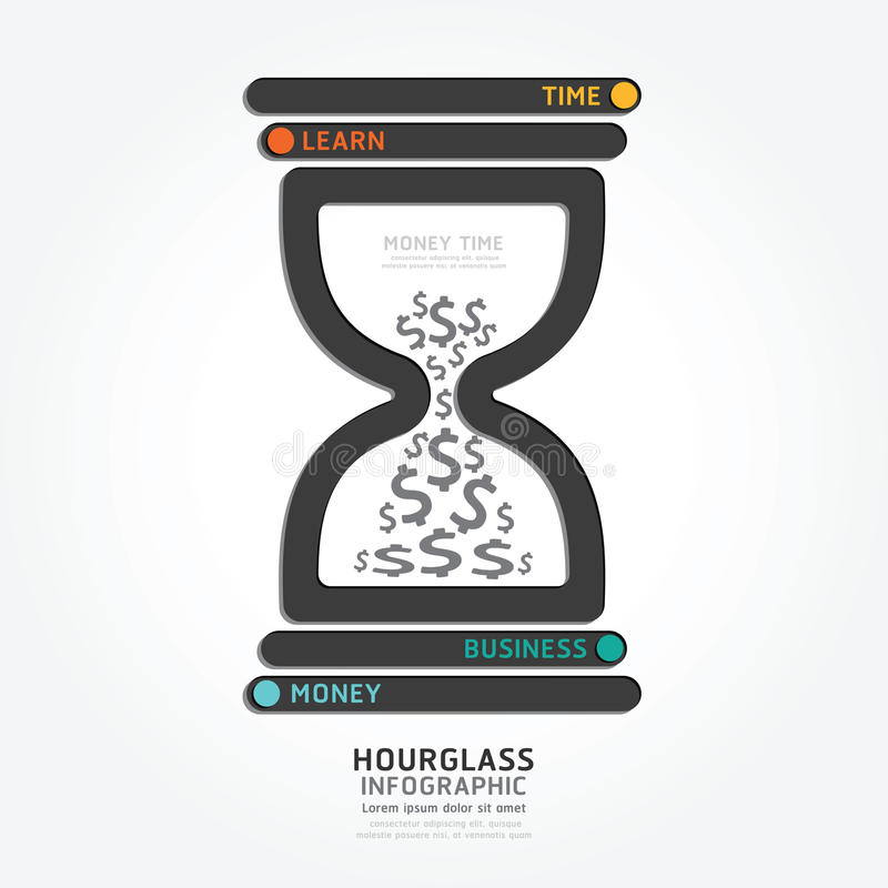 Infographics vector hourglass design diagram line style template. Money time concept stock illustration