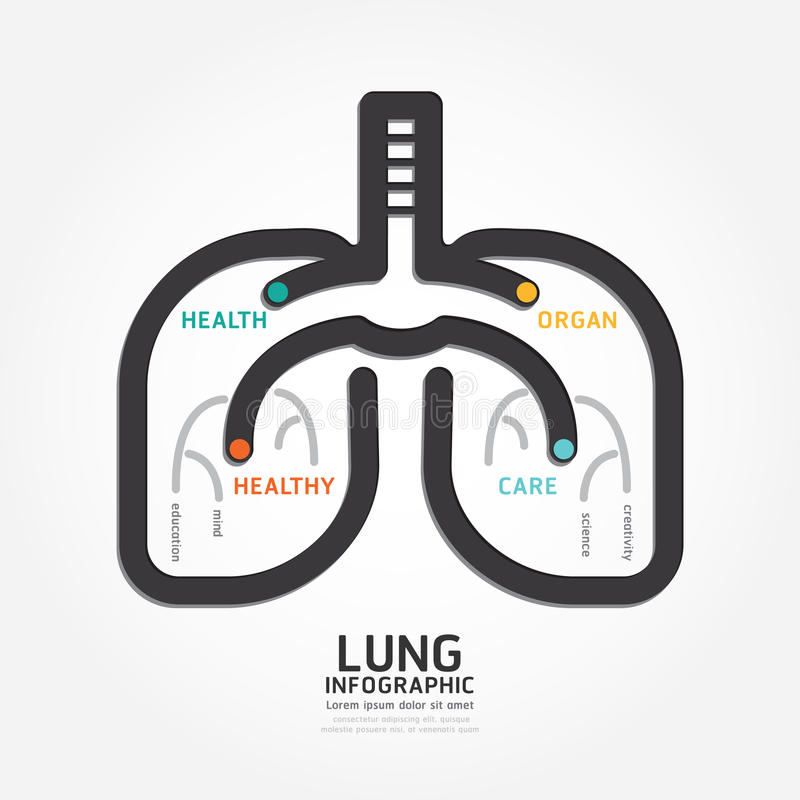 Infographics vector lung design organ concept diagram line style royalty free illustration