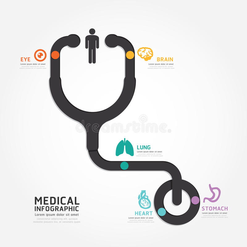 Infographics vector medical design stethoscope diagram line. Style template stock illustration