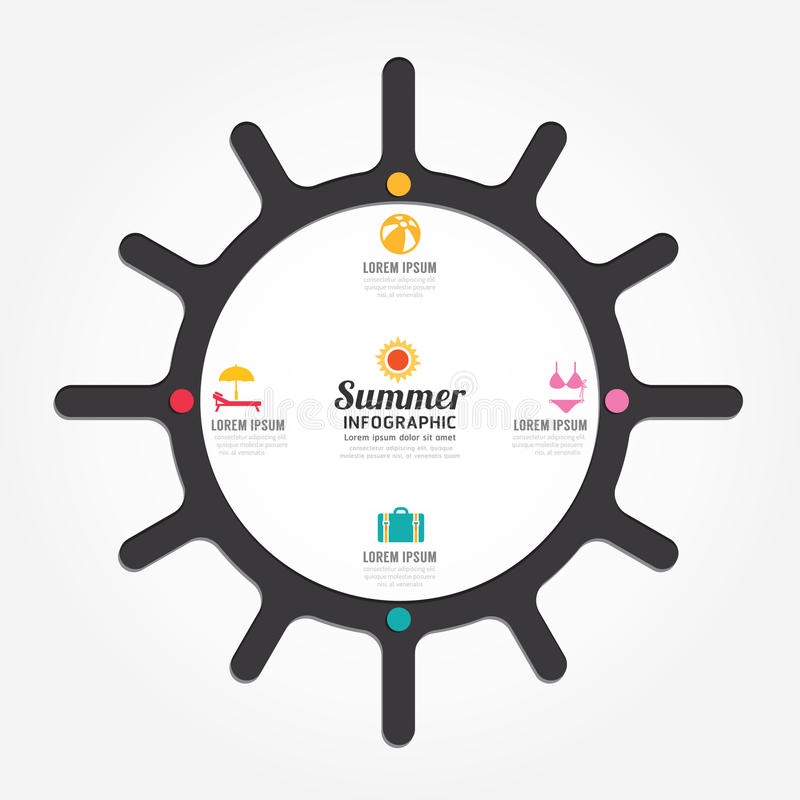 Infographics vector sun design summer concept diagram line style vector illustration