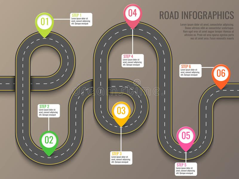 Infographics template with road map using pointers. Top view vector elements. Road trip. Business and journey. Infographics vector template with road map using vector illustration