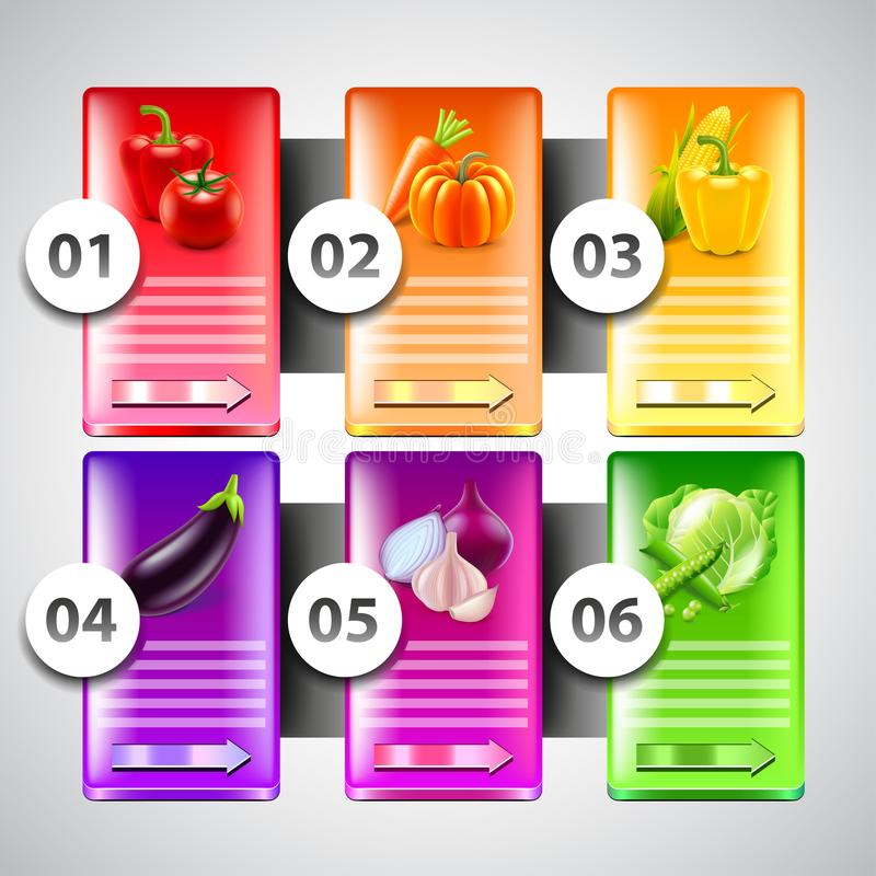 Infographics with vegetables in colorful rectangles stock illustration