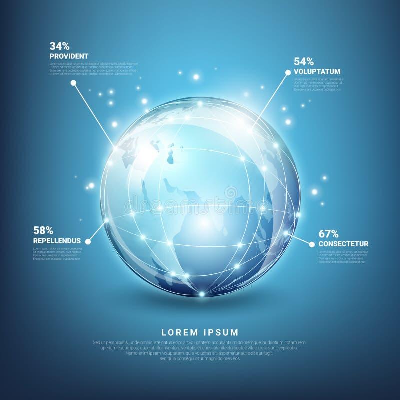 Infographics Vektor der globalen Netzwerke stock abbildung