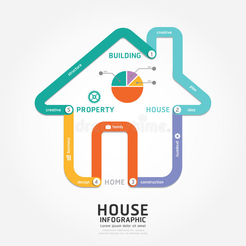 Infographics-Vektorgebäudehausdesigndiagrammlinie Art vektor abbildung