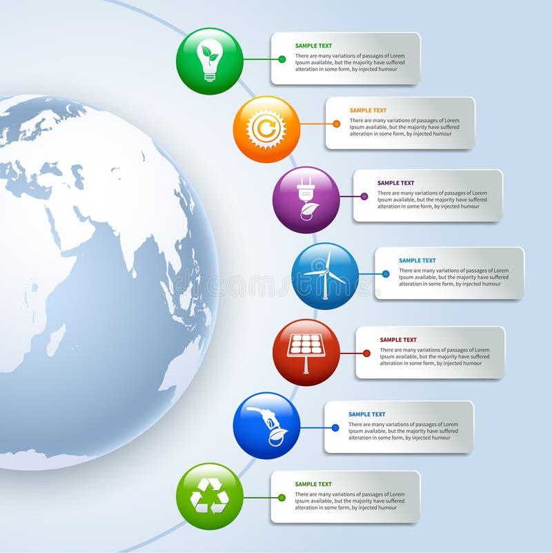 Infographics verde de la energía stock de ilustración