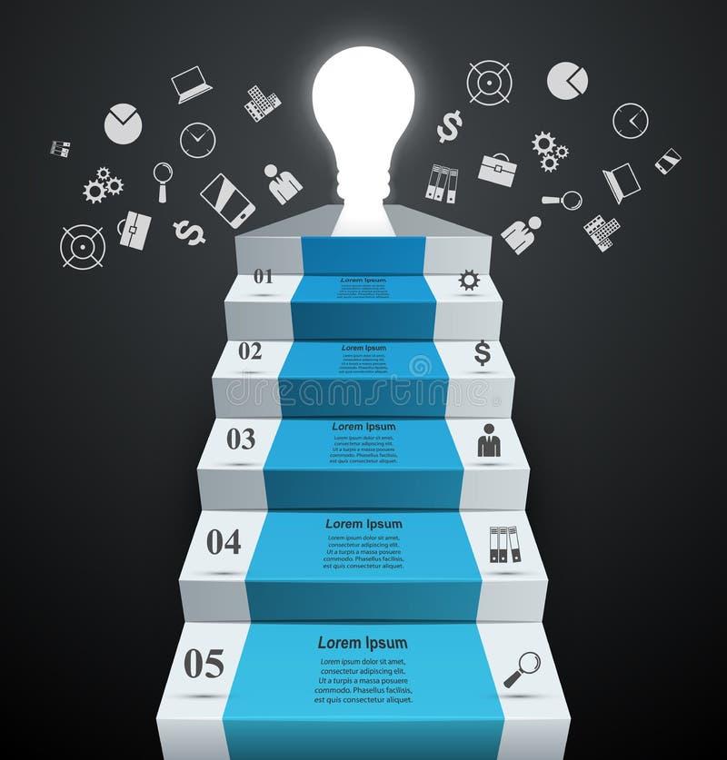 Infographics vers le haut de l'échelle au succès Ampoule et escalier illustration libre de droits