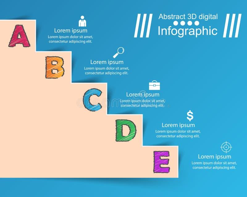 Infographics vers le haut de l'échelle au succès Escalier d'affaires illustration de vecteur