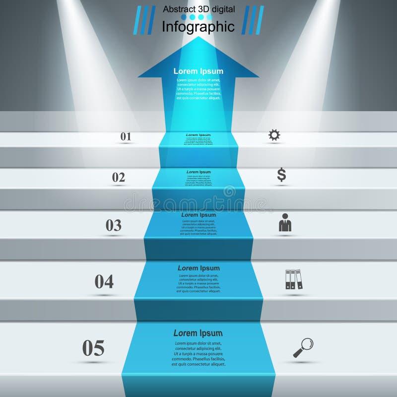 Infographics vers le haut de l'échelle au succès Escalier d'affaires illustration libre de droits