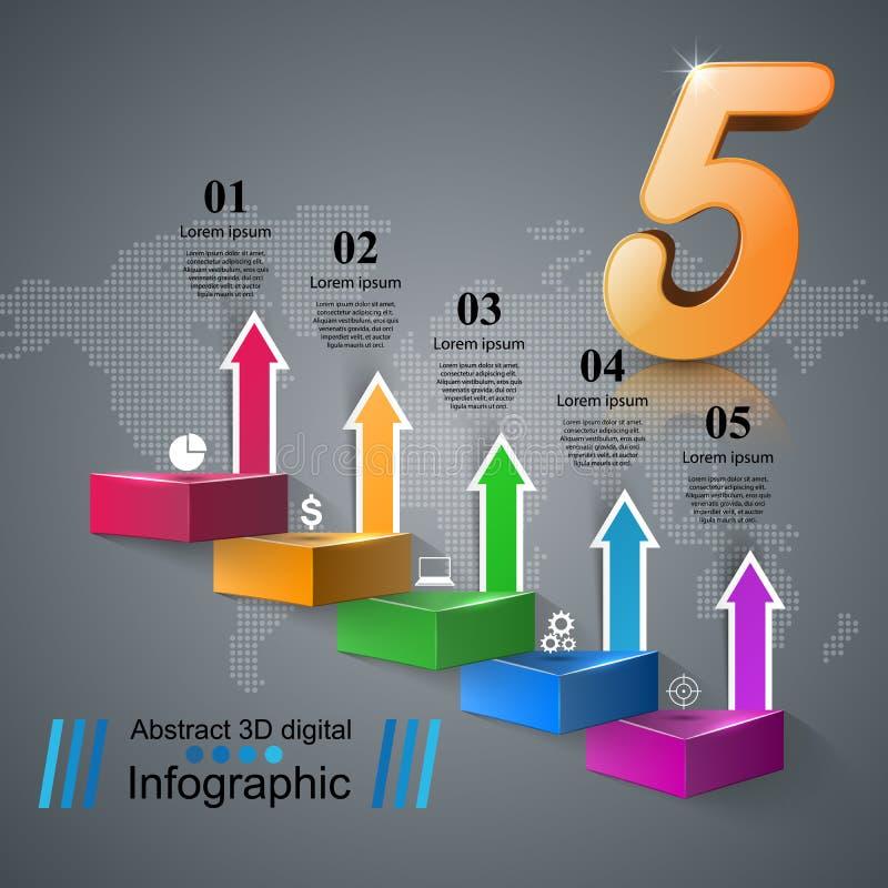 Infographics vers le haut de l'échelle au succès Escalier d'affaires Icône cinq illustration libre de droits