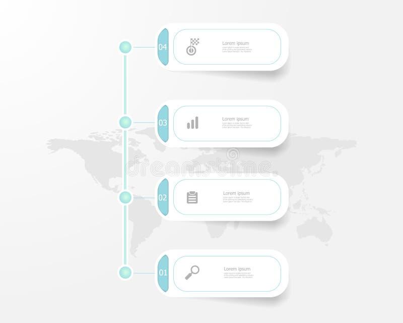 Infographics vertical de la cronología 4 pasos ilustración del vector