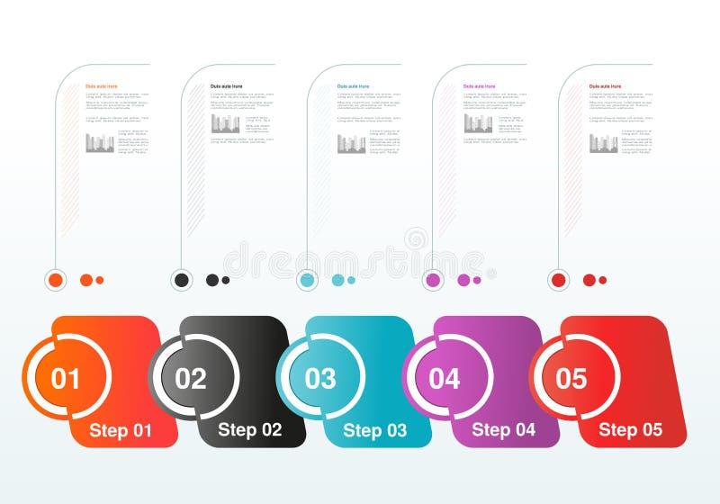 Infographics vijf stappenontwerp Malplaatje met cirkeletiketten Bedrijflay-out Achtergrond voor infographic zaken, diagram, menu stock illustratie