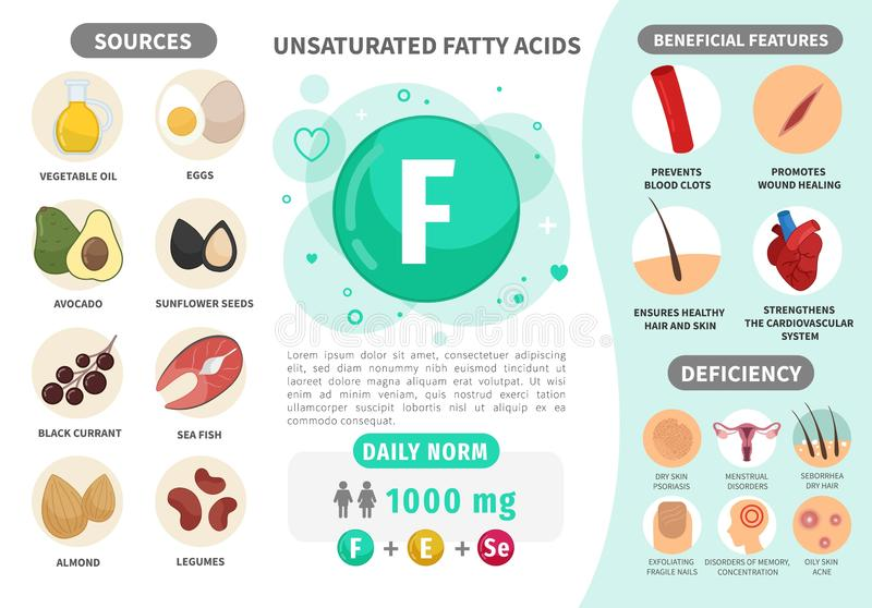 Infographics Vitamin F. Products containing vitamin. Daily norm. Symptoms of deficiency. Vector medical poster vector illustration