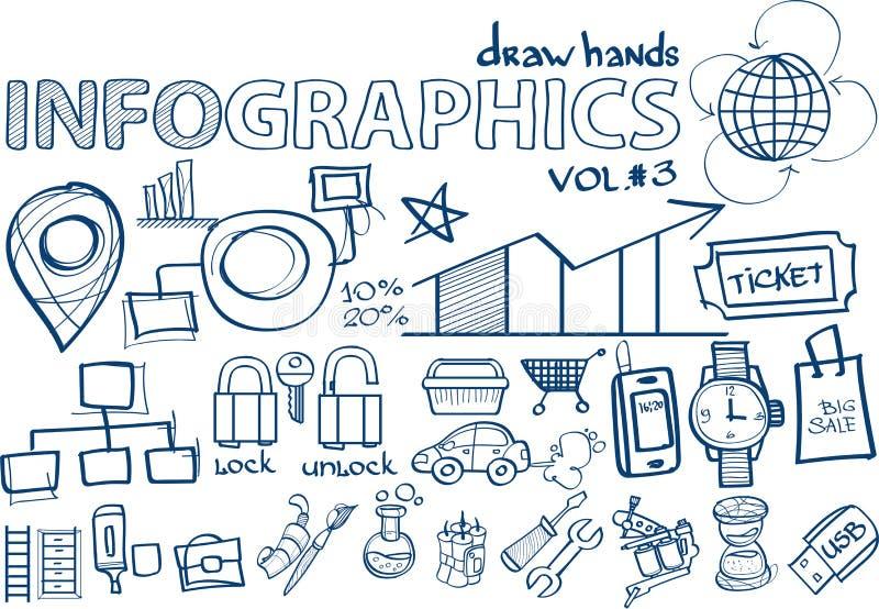 Infographics vol. d'aspiration de main 3 illustration de vecteur