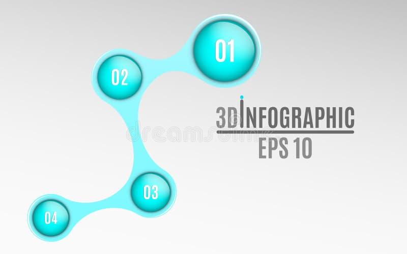 Infographics voor bedrijfsprojecten Glanzend diagram in 3d stijl Volumetrische, glanzende ballen met optieaantallen Bedrijfs stra stock illustratie