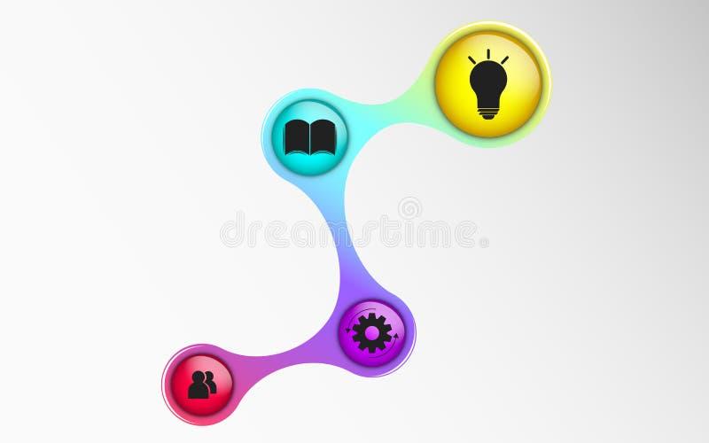 Infographics voor bedrijfsprojecten Het diagram in 3d stijl Iriserende kleuren Volumetrische, glanzende ballen met symbolen Zaken royalty-vrije illustratie