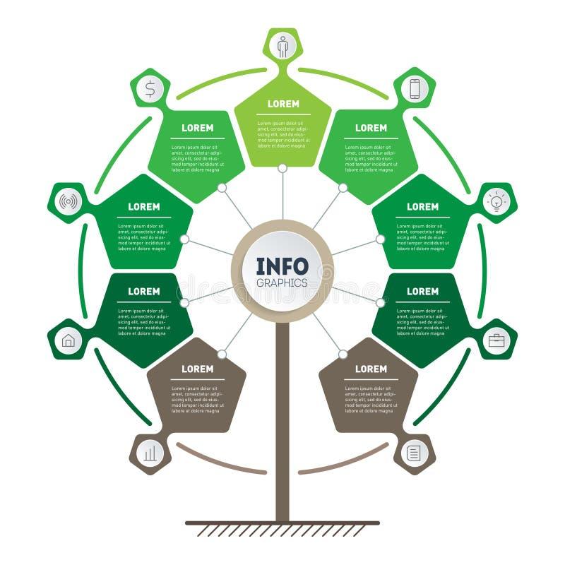 Infographics voor vriendschappelijke eco, milieu, energie, kringloop, groene, bio en globale concepten met 9 delen stock illustratie