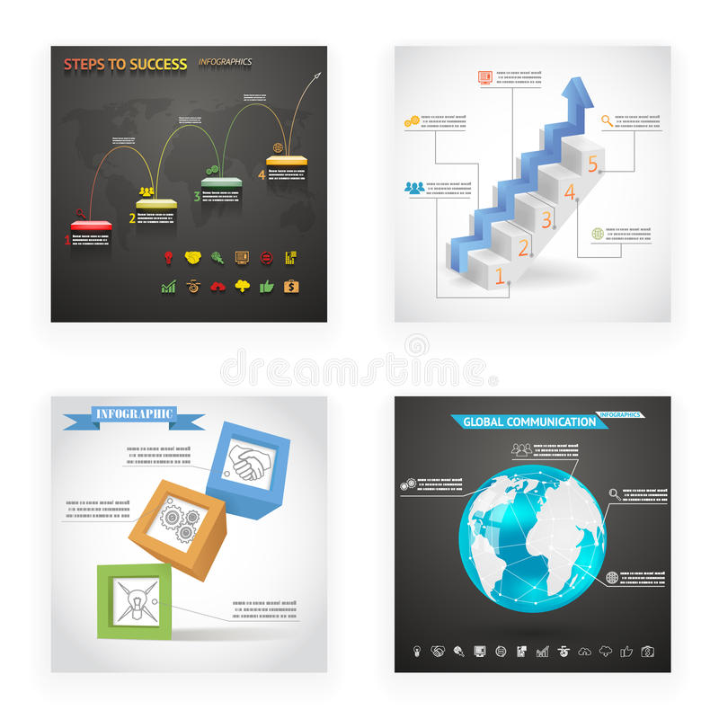 Infographics-Würfel-Leiter-Schritt-Kugel-Flieger-gesetzte Weinlese-Retrostil-Design-Schablone auf stilvollem abstraktem Hintergru vektor abbildung