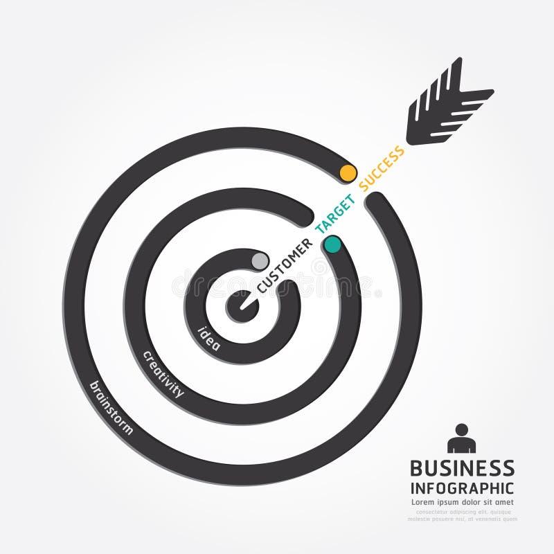 Infographics wektorowy biznesowy strzałkowaty projekt klienta cel ilustracji