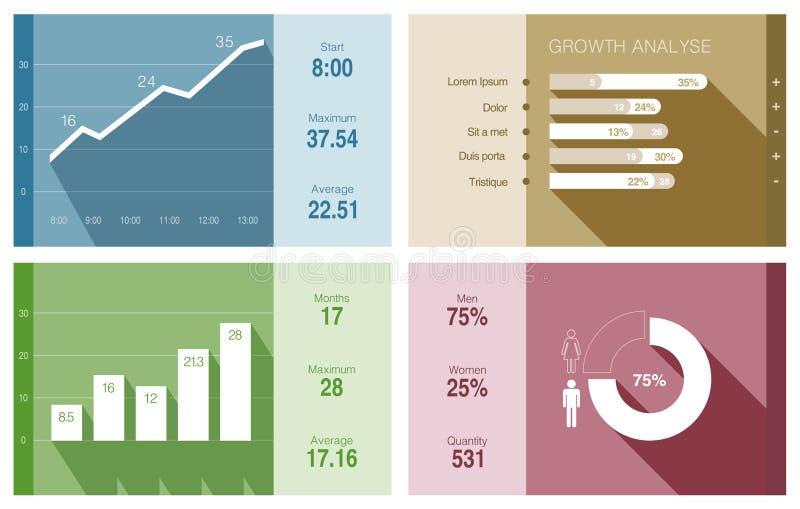 Infographics wektorowy płaski projekt. Pieniężny biznes ilustracja wektor