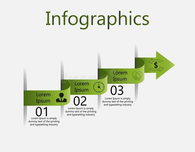 Infographics wyginał się strzałę z liczbami ilustracja wektor