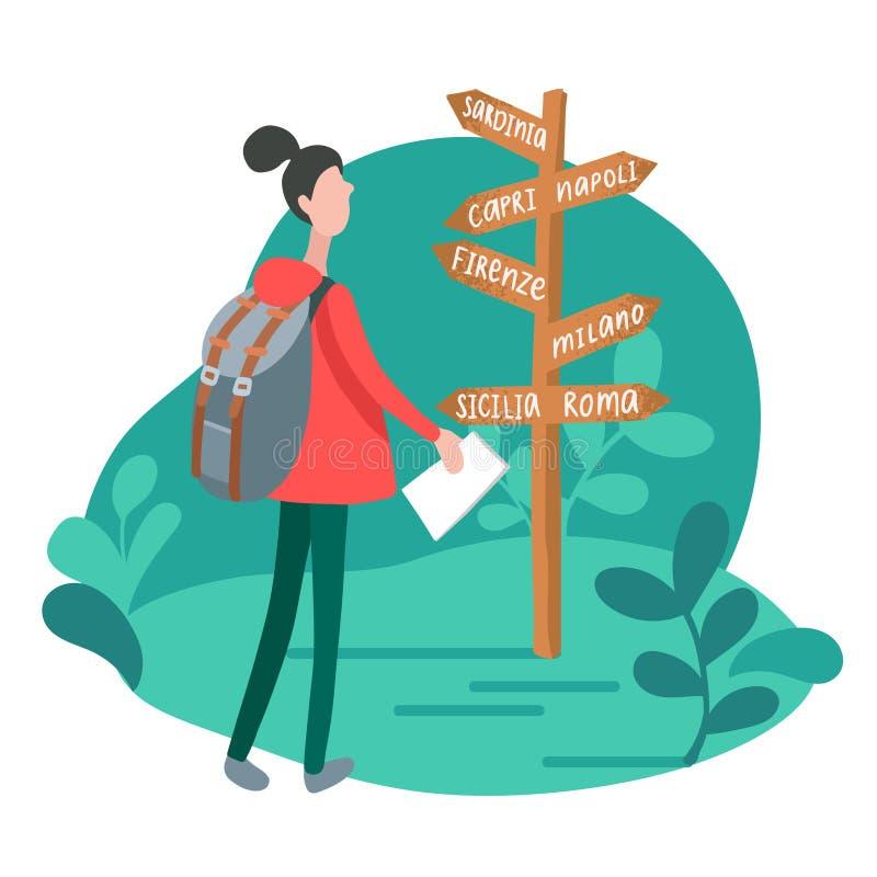 Infographics z dziewczyną przy kierunkowskazem w minimalisty stylu Wektorowa płaska ilustracja podróżuje w Włochy kobieta royalty ilustracja