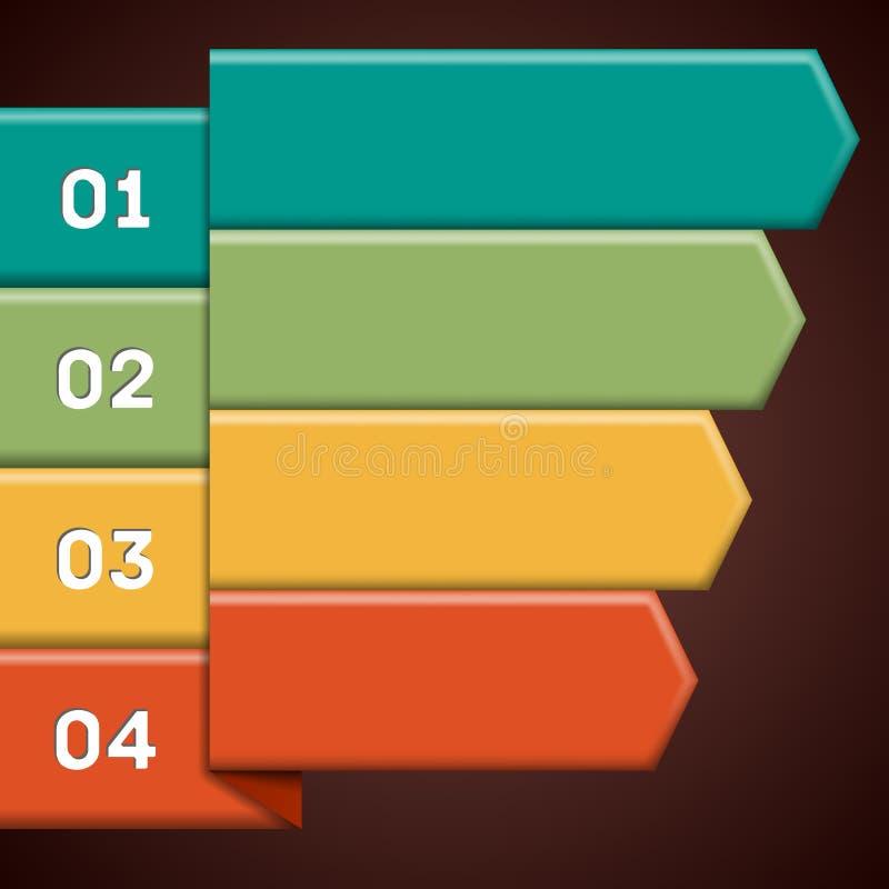 Infographics z kolorowymi tasiemkowymi pointerami ilustracja wektor