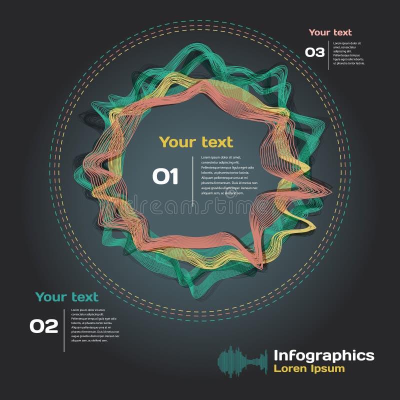 Infographics z rozsądnymi fala na ciemnym tle ilustracji