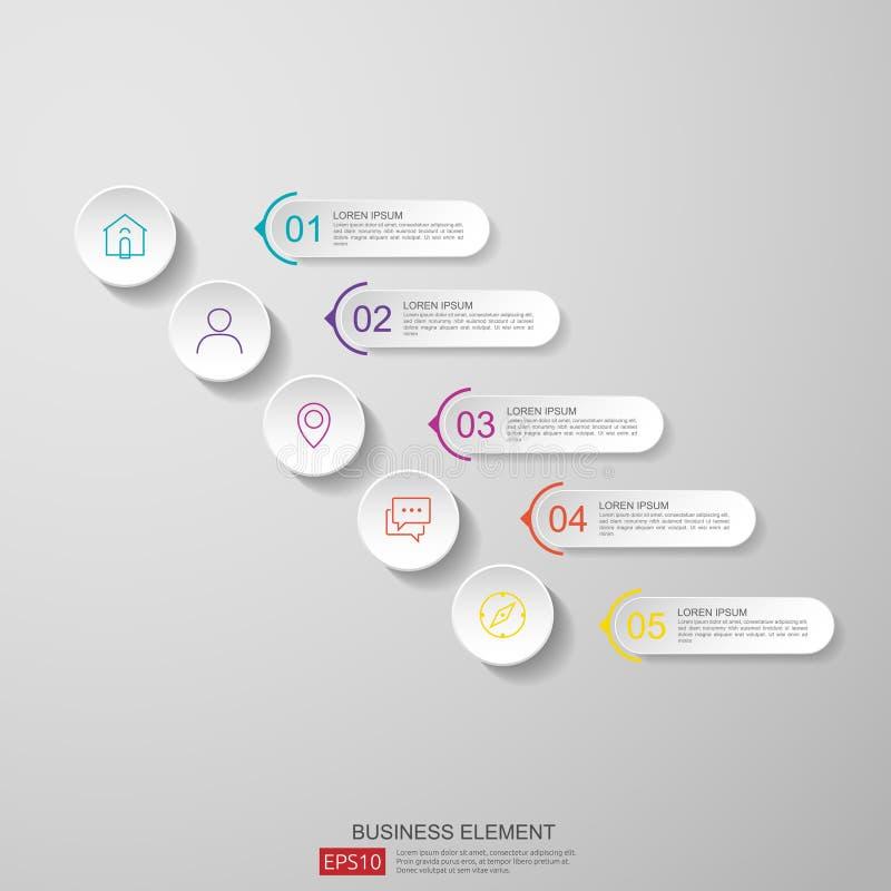 infographics Zeitachsedesign-Schablonenvektor mit Aufkleber des Papiers 3D, integrierte Kreise Geschäftskonzept mit Wahlen Für In vektor abbildung