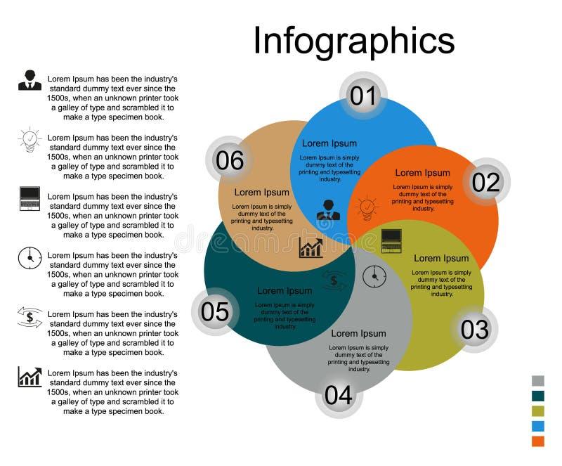 Infographicsbloem op zes stappen met de tekst op de linkerzijde stock illustratie