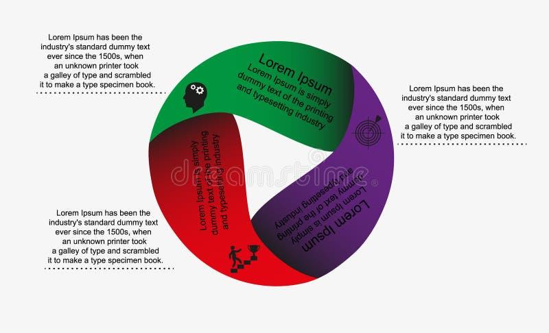 Infographicscirkel met tekstpictogrammen buiten het beeld vector illustratie