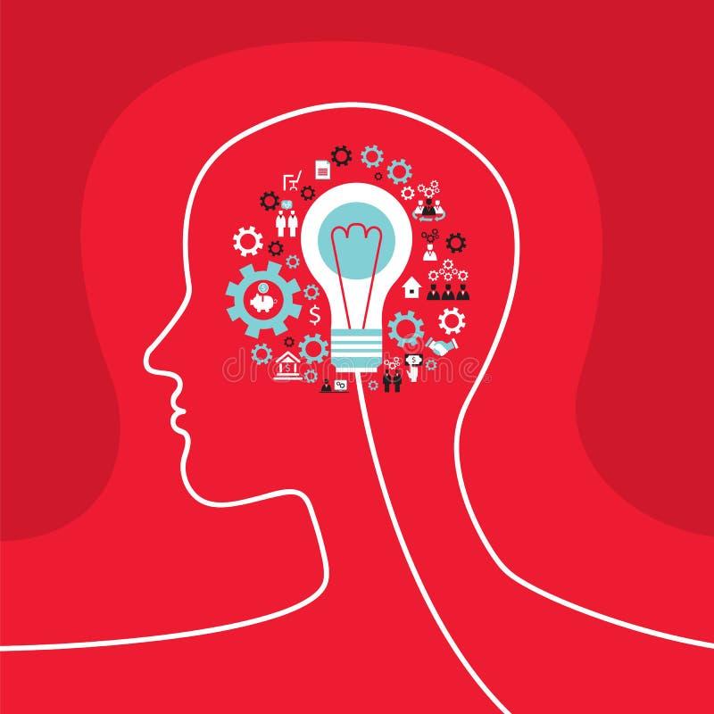 Infographicsconcept met hoofdprofiel, hersenen, toestellen en bedrijfspictogrammen stock illustratie