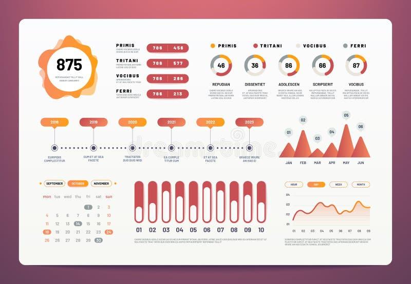 Infographicsdashboard Moderne ui met statistiekengrafieken, cirkeldiagrammen, de grafiek van de werkschemainformatie De vector va vector illustratie