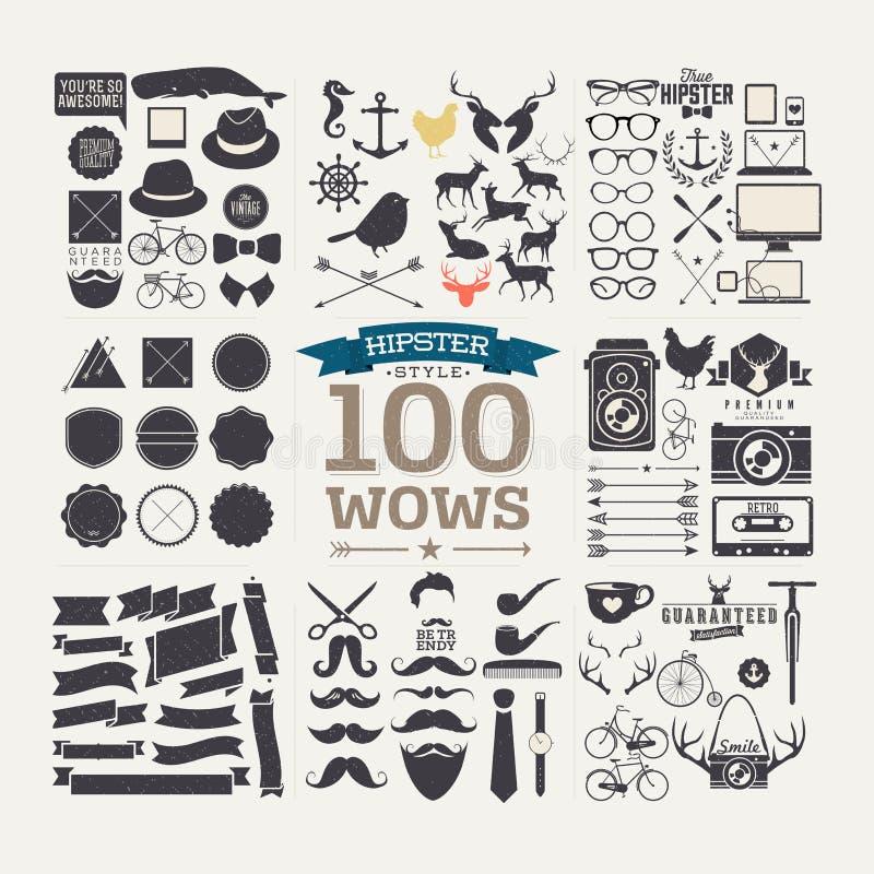 Infographicselementen en pictogrammen van de Hipsterstijl vector illustratie