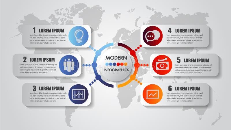 Infographicsgrafiek 6 van de van bedrijfs stappenopties het procesmalplaatje concepten horizontaal chronologie Vector moderne ban royalty-vrije illustratie