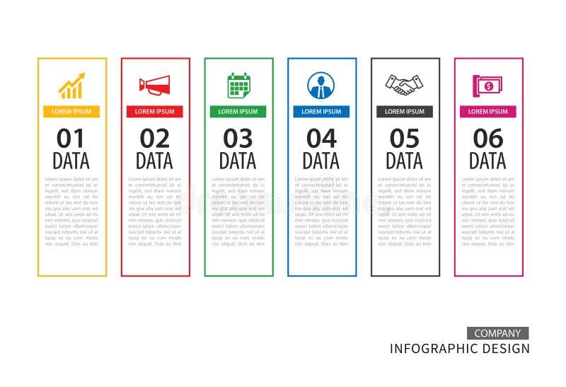 Infographicslusje in verticale dunne lijnindex met 6 gegevens templat stock illustratie