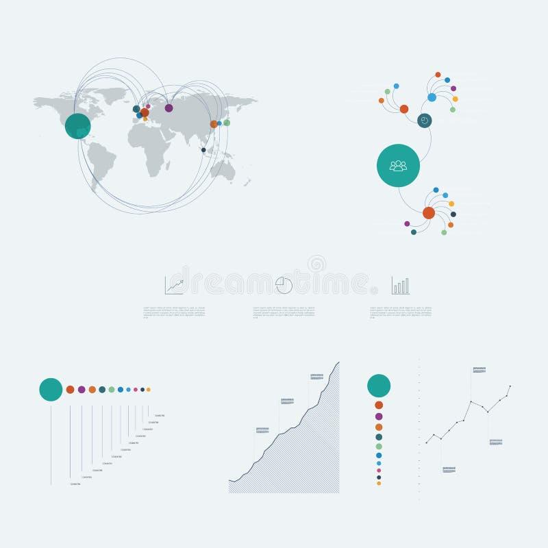 Infographicsmalplaatje met bedrijfsgrafieken en grafiekenelementen Marketing gegevenspresentatie vector illustratie