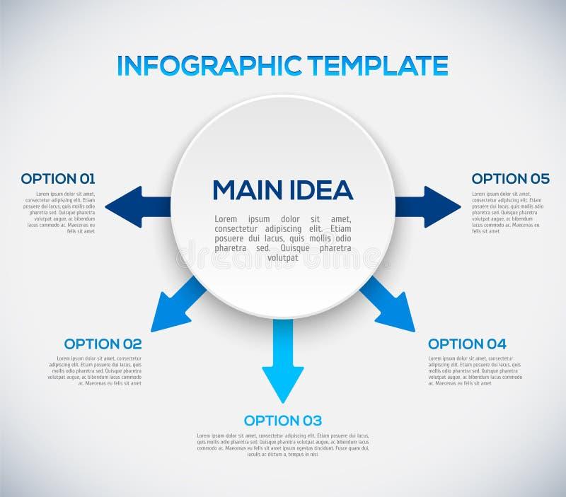 Infographicsmalplaatje met pijlen en 3D cirkel. royalty-vrije illustratie