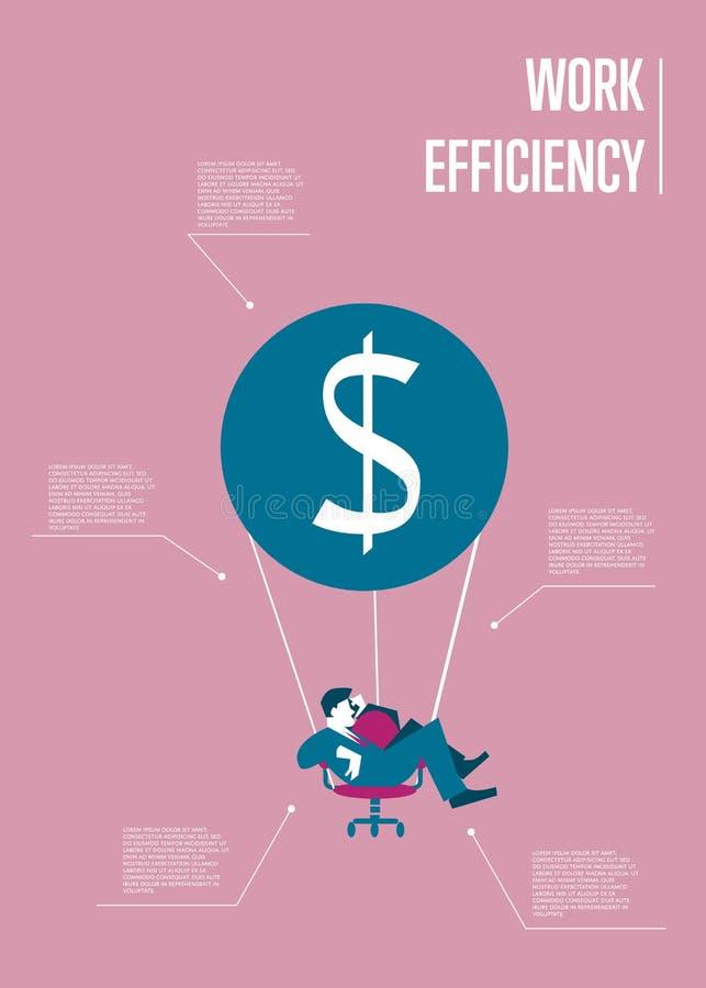 Infographicsmalplaatje van de het werkefficiency met de mens royalty-vrije illustratie