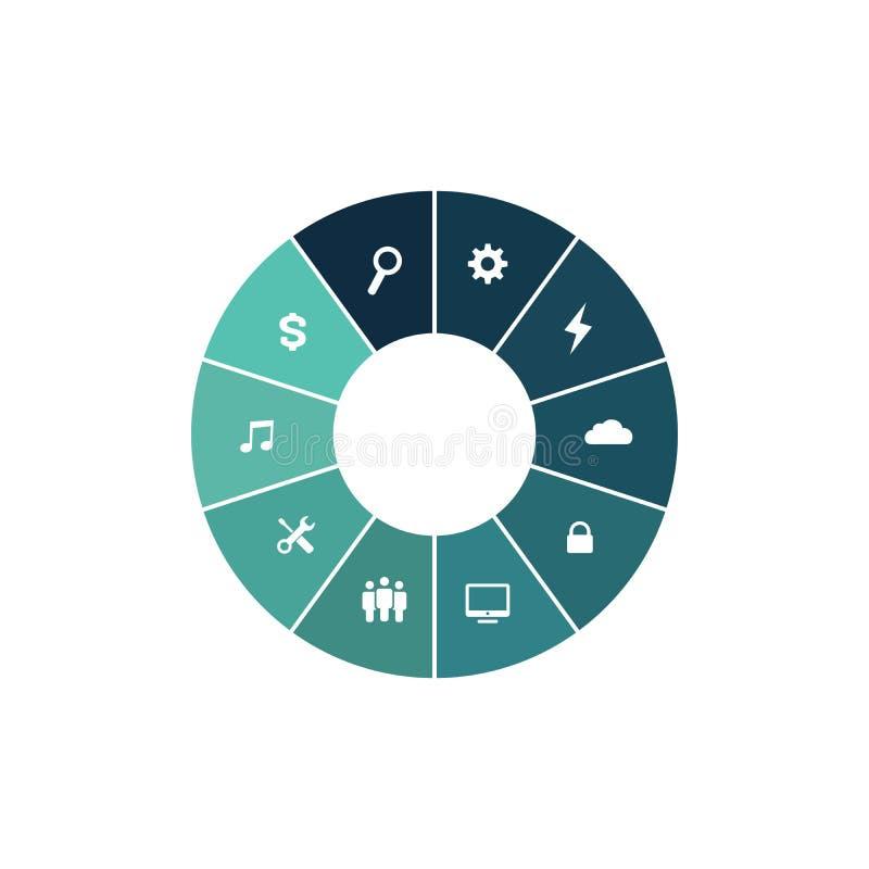 Infographicwiel met gekleurde secties Bedrijfsgrafiek, grafiek, diagram met 10 stappen, opties, delen, processen Vector stock illustratie