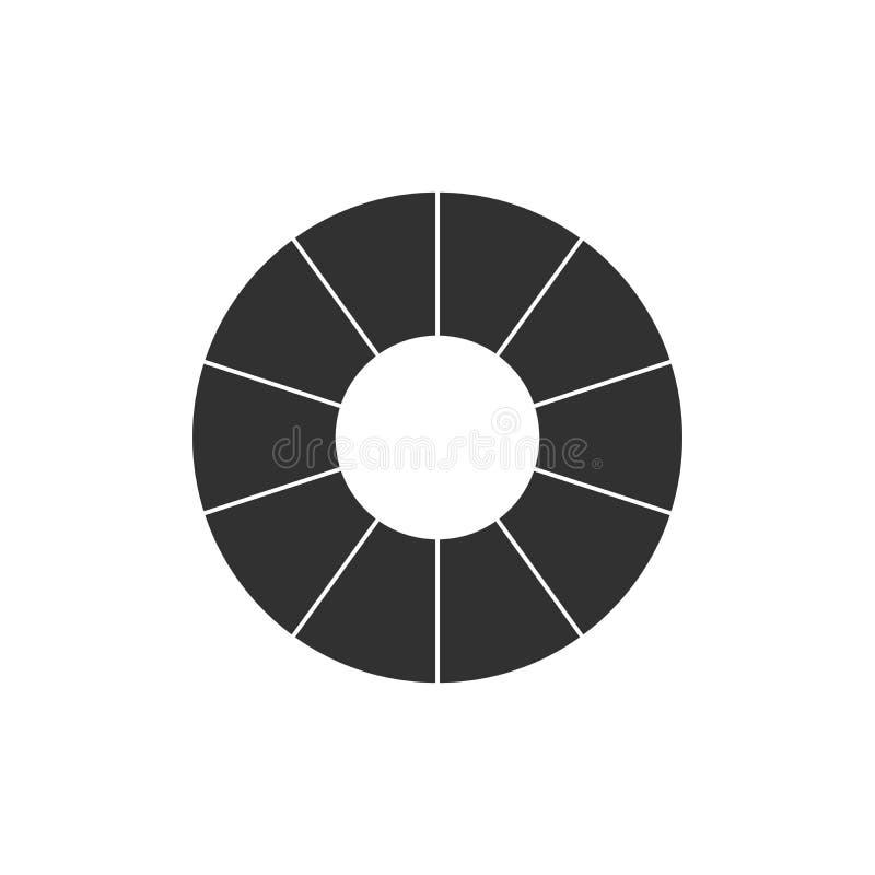 Infographicwiel met zwarte secties Bedrijfsgrafiek, grafiek, diagram met 10 stappen, opties, delen, processen Vector stock illustratie