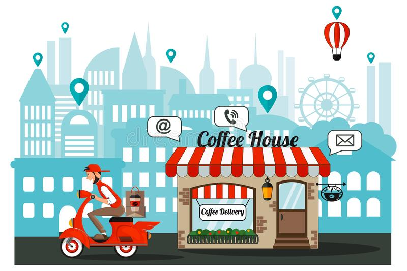 Infographie La livraison du café au bureau par le messager Ordre, achat par l'Internet illustration libre de droits