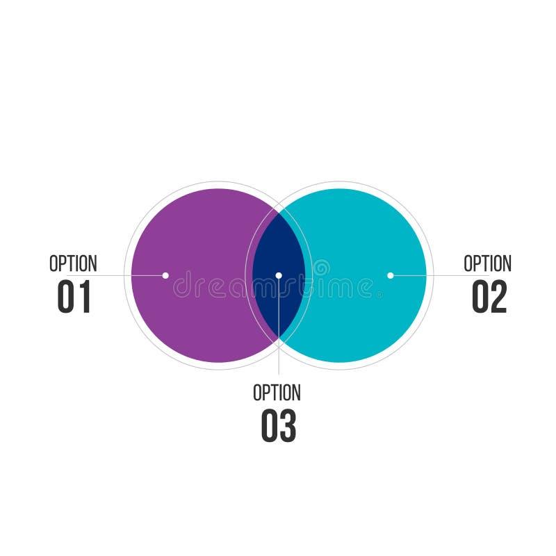infographies de diagramme pour deux cercles de conception vectorielle et marketing peuvent être utilisées pour la mise en page d illustration de vecteur